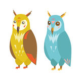 Cute Colorful Owl Set. Vector Royalty Free Stock Images