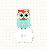 Cute colorful owl sitting on white sign with text Hello, illustration Stock Photo