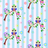Cute colorful owls seamless pattern Royalty Free Stock Photos