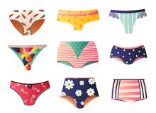 52e7b647169 Cute colorful panties set isolated on white background. Bikini, string,  tango, retro