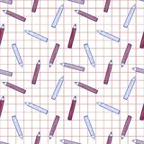 Colorful and cute pen pattern on checked background. Cute colorful pen pattern on checked background Royalty Free Illustration