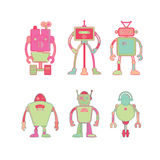 Cute colorful robot icon set. On white background vector illustration Royalty Free Stock Photos