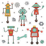 Cute colorful robots collection. In vector format stock illustration