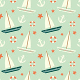 Cute colorful sailboat seamless pattern with anchor and lifebuoy background illustration Stock Photo