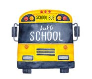 Cute colorful school bus watercolour illustration with phrase `Back to School` on black window.