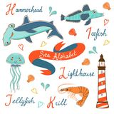 Cute colorful sea alphabet Stock Photography