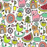 Cute colorful seamless childish pattern Royalty Free Stock Photos