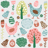 Cute colorful seamless easter spring  pattern, eggs, hens. Cute colorful seamless easter spring  pattern with hand drawn hens, chickens, eggs and flowers Royalty Free Stock Image