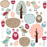 Cute colorful seamless easter spring  pattern with Royalty Free Stock Images