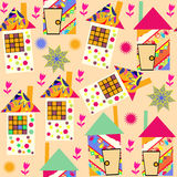 Cute colorful  seamless pattern with abstract colorful houses  and and seamless pattern in swatch menu,  picture. Adorable b Royalty Free Stock Photos