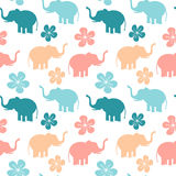 Cute colorful seamless pattern background illustration with elephants and flowers. Cute colorful seamless vector pattern background illustration with elephants royalty free illustration