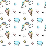 Cute colorful seamless pattern background illustration mix with rainbow, ice cream, eyelashes, heart, star and speech bubbl Stock Image