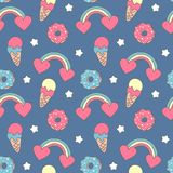 Cute colorful seamless vector pattern background illustration with rainbows, hearts, ice cream, donuts and stars Stock Photos