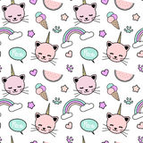 Cute colorful seamless pattern background illustration with unicorn cats, rainbow, speech bubble, ice cream, stars, hearts Royalty Free Stock Photography