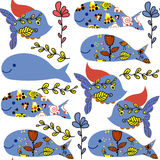 Cute colorful  seamless pattern with fantasy fish and whale  and. Seamless pattern in swatch menu, vector image Stock Photo