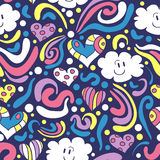 Seamless pattern with happy clouds Royalty Free Stock Photo