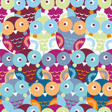 Cute colorful seamless pattern with owl. Blue, pink, purple, ora Royalty Free Stock Photos