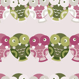 Cute colorful seamless pattern with owl. Green, pink, purple bac Royalty Free Stock Photos