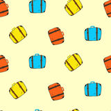 Cute colorful seamless suitcases pattern Stock Photography