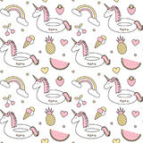 Cute colorful seamless vector pattern background illustration with float unicorn, rainbow, ice cream, pineapple, cherry, strawberr. Cute colorful seamless vector illustration