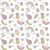 Cute colorful seamless vector pattern background illustration with pineapples, rainbow, cherries, strawberries, ice cream, stars,. Cute colorful seamless pattern Stock Image