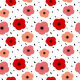 Cute colorful seamless vector pattern background illustration with poppies Stock Photo