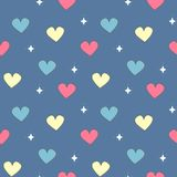 Cute colorful seamless vector pattern illustration with hearts and stars on blue background. Cute colorful seamless pattern illustration with hearts and stars on Stock Photography