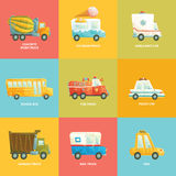 Cute colorful set of cars in vector. Royalty Free Stock Images