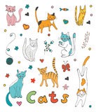 Cute colorful set  of hand drawn cats Royalty Free Stock Photo