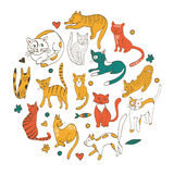 Cute colorful set of hand drawn cats with twigs flowers and leaves Royalty Free Stock Photography