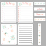 Cute colorful set of printable template for cards, notes, journal with daisy flowers and butterfly Stock Photos
