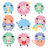 Cute Colorful Sheep Vector Set. Vector illustration of cute colorful sheep with heart, star, and rainbow Royalty Free Stock Photos