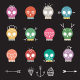 Cute colorful skull set. Vector cute colorful skull icon set with different elements on black background Royalty Free Stock Images