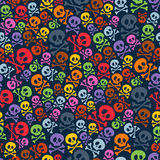 Cute colorful skulls and crossbones seamless Stock Photo