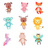 Cute colorful soft plush animal toys set of vector Illustrations Stock Photography