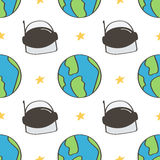 Cute and colorful space doodles seamless pattern background with spaceman helmet and planet earth Royalty Free Stock Image