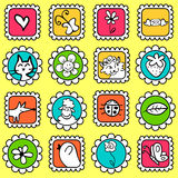 Cute colorful stamps Royalty Free Stock Images