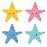 Cute Colorful Starfish Set in White Background. Vector Illustration vector illustration