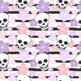Cute colorful striped seamless vector pattern background illustration with skulls and flowers Stock Image