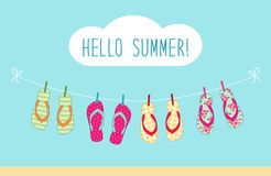 Cute colorful summer banner with flip flops hanging on the rope Stock Image