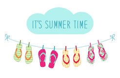 Cute colorful summer banner with flip flops hanging on the rope Royalty Free Stock Photography