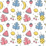 Cute colorful summer seamless vector pattern background illustration with exotic leaves, bananas, pineapples, lemons, watermelon. Cherries and strawberries vector illustration