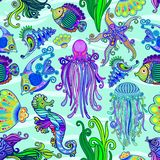 Sea Life Tattoo Style Cute Animals Seamless Pattern Vector Textile Design. Cute and Colorful Tattoo Style See Animals, as Octopus, Sea Horses, Jelly Fish, Angel vector illustration