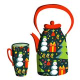 Cute colorful teapot and tea cup. Tea time. Stock Photo