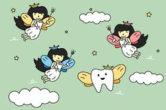 Cute colorful tooth fairy flying with teeth vector illustration