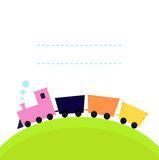 Cute colorful Train on hill. Cartoon Train on hill with blank space. Vector banner stock illustration