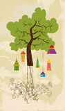 Cute colorful tree bird house Stock Image