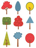 Cute colorful trees collection Stock Photo