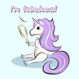 Cute colorful unicorn illustration with im fabulous text vector illustration