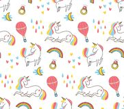 Cute colorful unicorn seamless pattern royalty free illustration